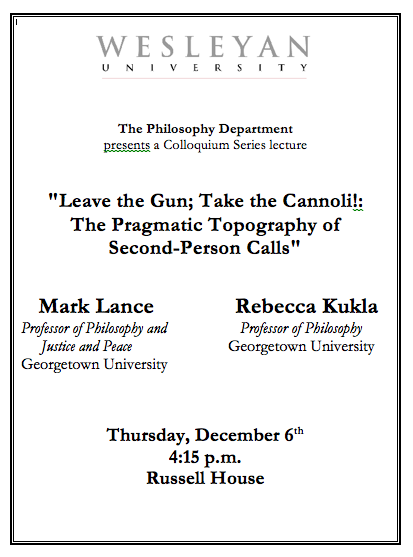 Philosophy colloquium on second-person calls Dec. 6